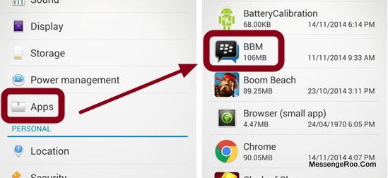 app bbm setting