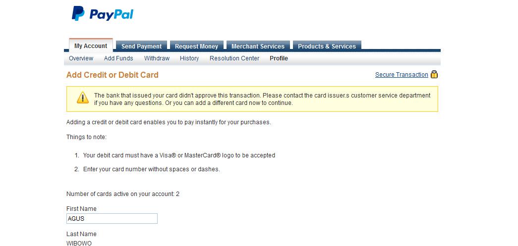 gagal add kartu kredit payooner