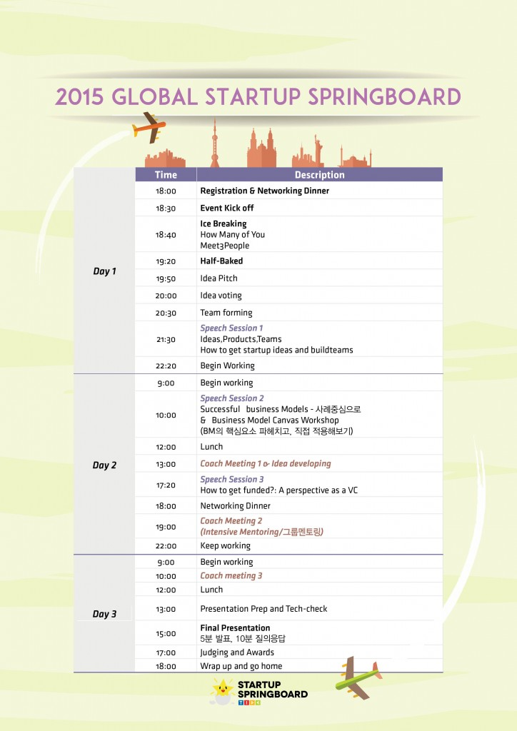 Time table startup bostrap